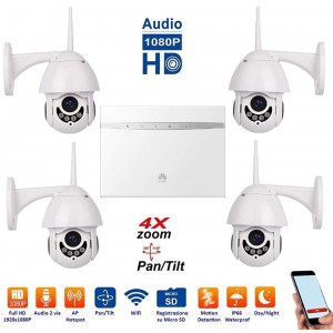 ART. 509062 - Kit 4 Dome IP WiFi completo di Router 4G Huawei mod. MCKV4D