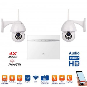 ART. 509062 - Kit 2 Dome IP WiFi completo di Router 4G Huawei mod. MCKV2D