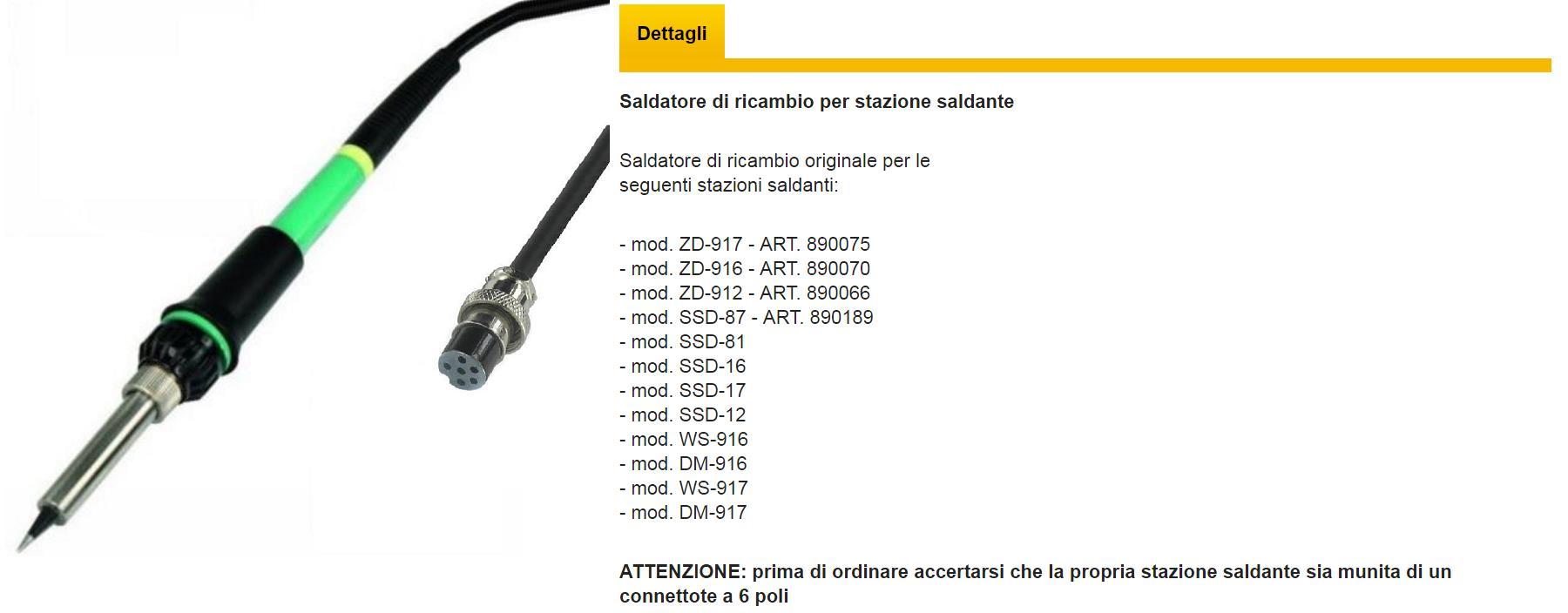 PUNTA RICAMBIO STAZIONE SALDANTE ZD912 ZD916 ZD917 ZD981 ZD982 N4-3 3mm